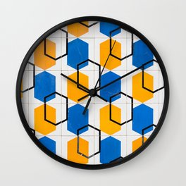 Portugal Vintage Tiles Yellow Blue Pattern Wall Clock
