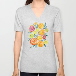 Sliced Citrus Watercolor Unisex V-Neck