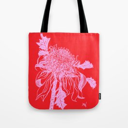 Australian native flower illustration in pink and red Tote Bag