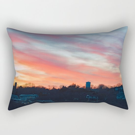 Winter sunset in Rockport Rectangular Pillow