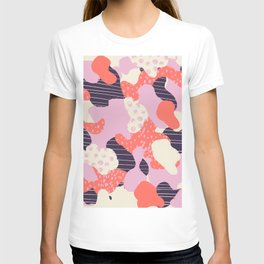 Modern abstract coral purple beige color trend camo camouflage stripes polka dots pattern T-shirt