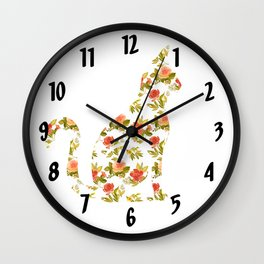 Roses and Peonies Cat Silhouette Wall Clock