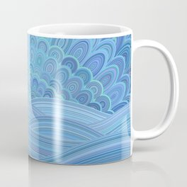 Blue Mandala Sunset at the Ocean Coffee Mug