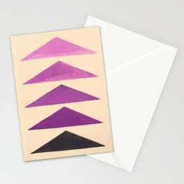 Colorful Purple Geometric Triangle Pattern With Black Accent Stationery Cards