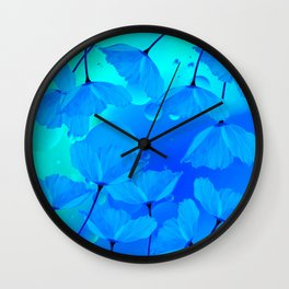 Poppies In Aqua Color #decor #society6 #buyart Wall Clock