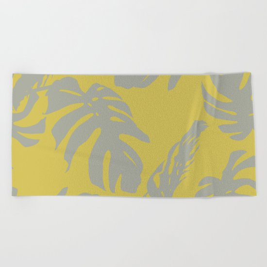 Palm Leaves Retro Gray on Mod Yellow Beach Towel
