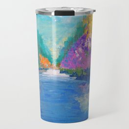 AROUND THE RIVERBEND - Autumn River Modern Nature Pochahontas Abstract Landscape Acrylic Painting Travel Mug
