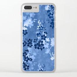 Sakura blossom in blue Clear iPhone Case