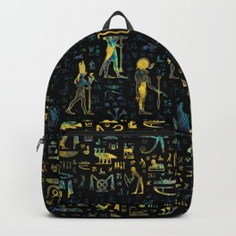 Egyptian Gods and hieroglyphs - Abalone and Gold Backpack