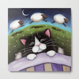 Cat - Sheep Dreams Metal Print