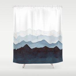 Indigo Mountains Landscape Shower Curtain