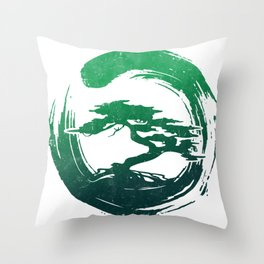 Green Bonsai in Enso Throw Pillow