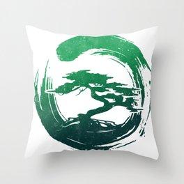 Green Bonsai in Enso Throw Pillow