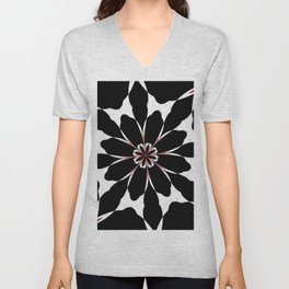 Bizarre Red Black and White Pattern 4 Unisex V-Neck
