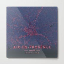 Aix-en-Provence, France - Neon Metal Print