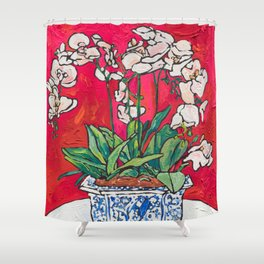 Orchid in Blue-and-white Bird Pot on Red after Matisse Shower Curtain