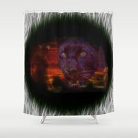 egypt Shower Curtains featuring Egypt Goddess Bastet by Lucia