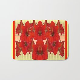 YELLOW CONTEMPORARY CLUSTER RED AMARYLLIS FLOWERS Bath Mat