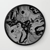 jenna kutcher Wall Clocks featuring Cosmic Atomic  by Josh Ln