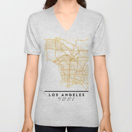 LOS ANGELES CALIFORNIA CITY STREET MAP ART Unisex V-Neck