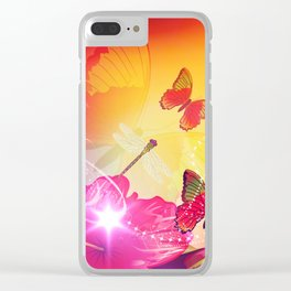 Awesome colorful flowers and butterfly Clear iPhone Case