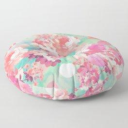 Romantic Pink Retro Floral Pattern Teal Polka Dots Floor Pillow