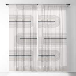 Geometric Mid Century Abstract Shapes 3 Sheer Curtain