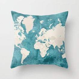 Teal watercolor and light brown world map Throw Pillow