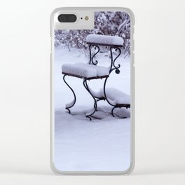 Concept Baden-Wurttemberg : Graveyard bench in snow Clear iPhone Case