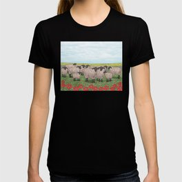 Suffolk sheep in a field with poppies T-shirt