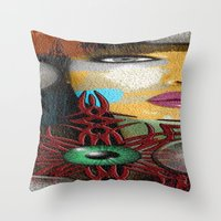 trippy Throw Pillows featuring Trippy by Müge Başak