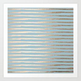 Abstract Stripes Gold Tropical Ocean Sea Blue Art Print