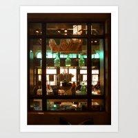 Un Café y Croissant, Por Favor Art Print
