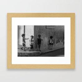 Get in line Framed Art Print