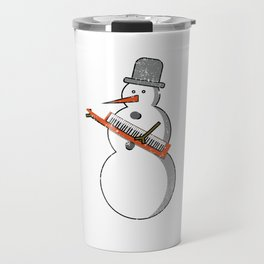 Funny Christmas Music Snowman Keyboard Player Piano Pianist Travel Mug