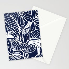 Navy Blue Floral Stationery Cards