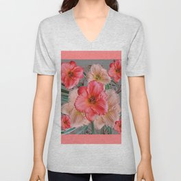 CORAL COLORED  PINK & CREAM DAYLILIES Unisex V-Neck