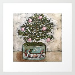 Vintage Christmas Tin painting by Trish Jones Art Print