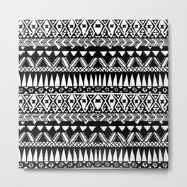 Black and White Hand Drawn Modern Tribal Aztec Metal Print