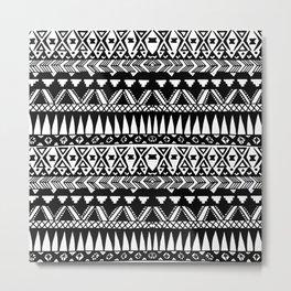 Black and White Hand Drawn Modern Tribal Aztec Metal Print