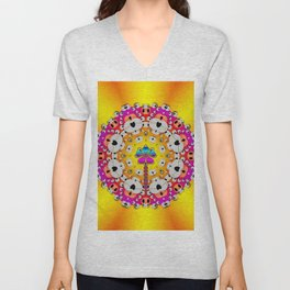 Fantasy flower in tones Unisex V-Neck