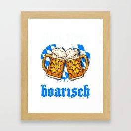Mei Herz schlogt boarisch - German Beer Bavarian Oktoberfest print Framed Art Print
