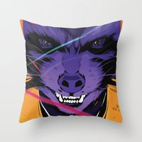 rocket raccoon Throw Pillows featuring Rocket Raccoon Guardians of the galaxy by W.B.