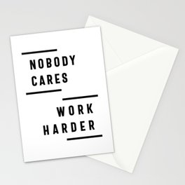 Nobody Cares Work Harder Fitness Workout Gym Gift Stationery Cards
