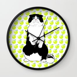Black and White Scottish Fold Cat and Green Apples Wall Clock