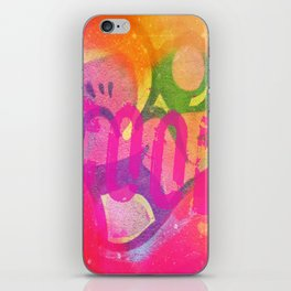 Cool colorful graffiti print in electric bright tones with two strange faces iPhone Skin
