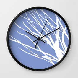 Tree Silhouette Periwinkle Blues Wall Clock