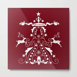 Retro damask christmas tree with reindeer Metal Print