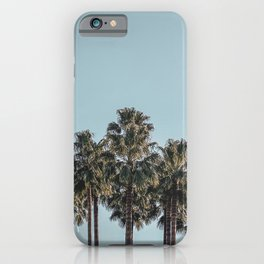 California Beach Vibes // Tropical Palm Trees Dusty Blue Sky Travel Photograph iPhone Case