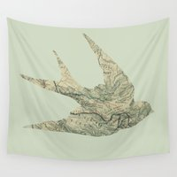 swallow Wall Tapestries featuring Swallow by Emily